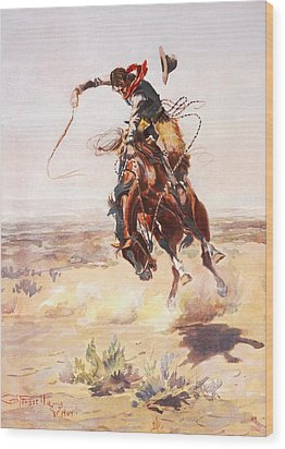 A Bad Hoss Wood Print by Charles Russell