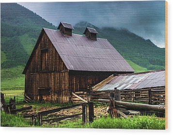 A Barn In Crested Butte Wood Print by John De Bord