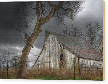 A Barn In The Storm 2 Wood Print