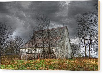 A Barn In The Storm 3 Wood Print