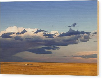 Wood Print featuring the photograph A Barn On The Prairie by Monte Stevens