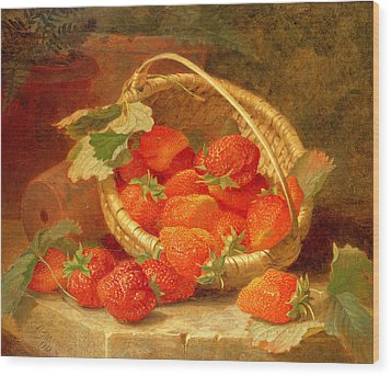 A Basket Of Strawberries On A Stone Ledge Wood Print