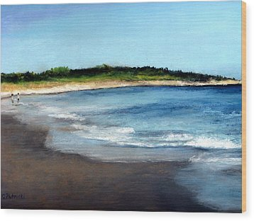 Wood Print featuring the painting A Beach In Smithfield by Cindy Plutnicki