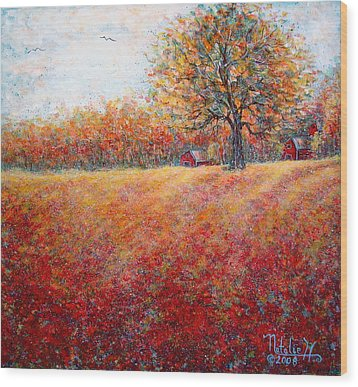 Wood Print featuring the painting A Beautiful Autumn Day by Natalie Holland