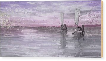 A Beautiful Morning For Fishing Wood Print by Angela A Stanton