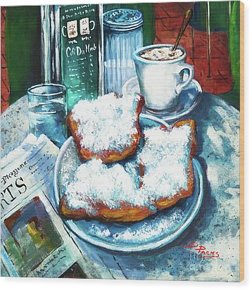 A Beignet Morning Wood Print by Dianne Parks