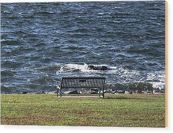 Wood Print featuring the photograph A Bench By The Sea by Tom Prendergast