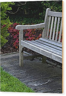 A Bench In The Garden Wood Print