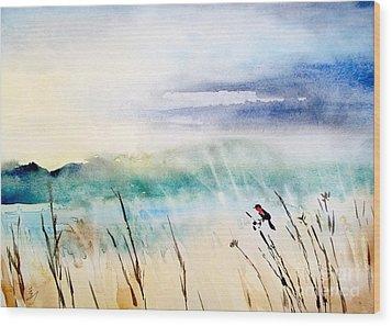 A Bird In Swamp Wood Print by Yoshiko Mishina