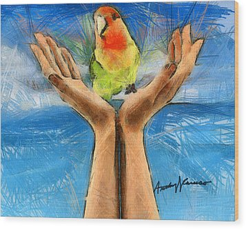 A Bird In Two Hands Wood Print by Anthony Caruso