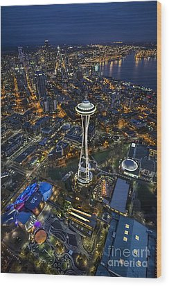 A Birds-eye View Of Seattle Wood Print by Roman Kurywczak
