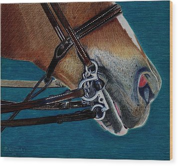 A Bit Of Control - Horse Bridle Painting Wood Print by Patricia Barmatz