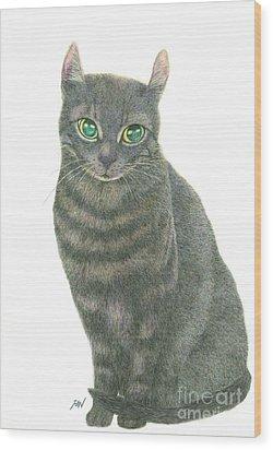 A Black Cat Wood Print by Jingfen Hwu