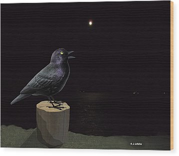 A Blackbird Singing In The Dead Of Night Wood Print