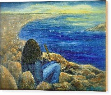A Blue Day Wood Print by Gail Kirtz