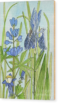 Wood Print featuring the painting A Blue Garden by Laurie Rohner