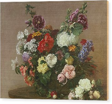 A Bouquet Of Mixed Flowers Wood Print by Ignace Henri Jean Fantin-Latour