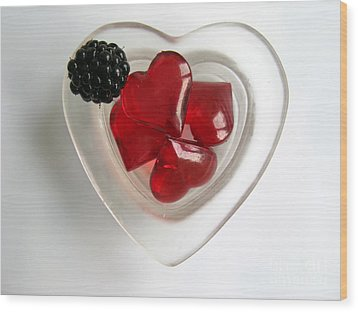 Wood Print featuring the photograph A Bowl Of Hearts And A Blackberry by Ausra Huntington nee Paulauskaite