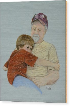 A Boy And His Dad Wood Print by Pat Neely