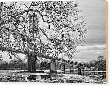 A Bridge In Winter Wood Print by Olivier Le Queinec
