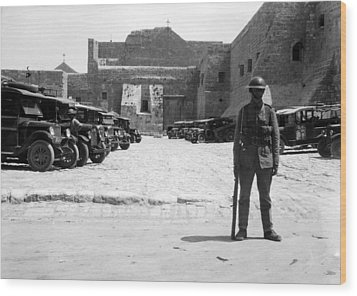 A British Soldier In Front Of Nativity Church Wood Print by Munir Alawi