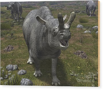 A Brontotherium Leaves His Forest Wood Print by Walter Myers