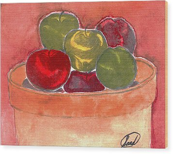 Wood Print featuring the painting A Bucket Full Of Apples by Saad Hasnain