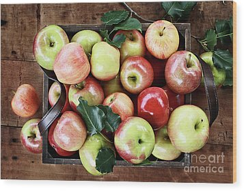 Wood Print featuring the photograph A Bushel Of Apples  by Stephanie Frey