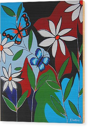 Wood Print featuring the painting A Butterflies Paradise by Kathleen Sartoris