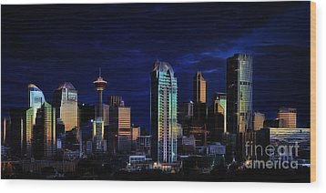 Wood Print featuring the photograph A Calgary Sunrise by Brad Allen Fine Art