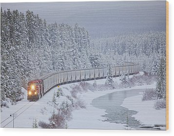 A Canadian Pacific Train Travels Along Wood Print by Chris Bolin