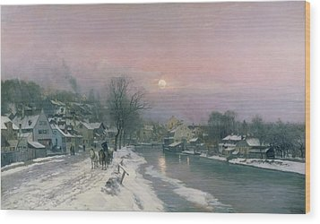 A Canal Scene In Winter  Wood Print by Anders Anderson Lundby
