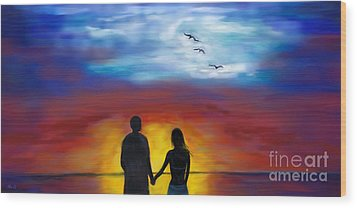 Wood Print featuring the painting A Captivating Love by Leslie Allen