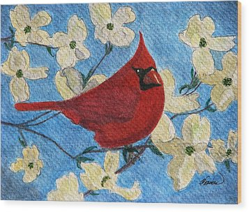 Wood Print featuring the painting A Cardinal Spring by Angela Davies