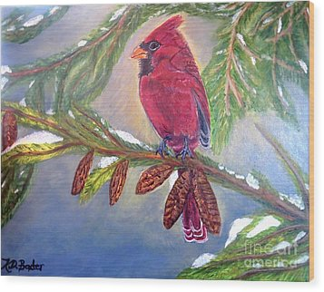 Wood Print featuring the painting A Cardinal's Sweet And Savory Song Of Winter Thawing Painting by Kimberlee Baxter