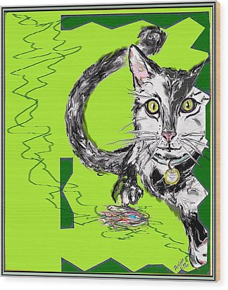 A Cat Wood Print by Desline Vitto