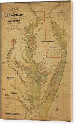 A Chart Chesapeake And Delaware Wood Print by Randy Vreeke