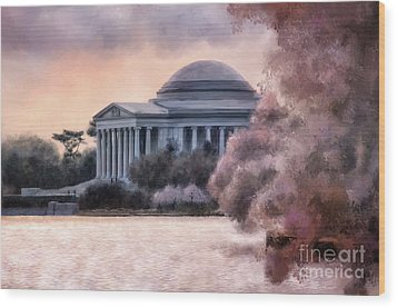Wood Print featuring the digital art A Cherry Blossom Dawn by Lois Bryan