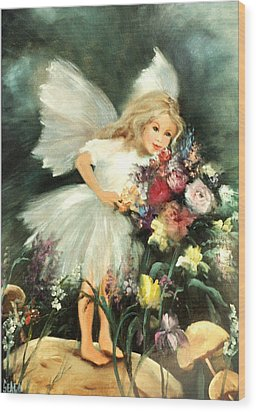 A Childs Dream Wood Print by Sally Seago