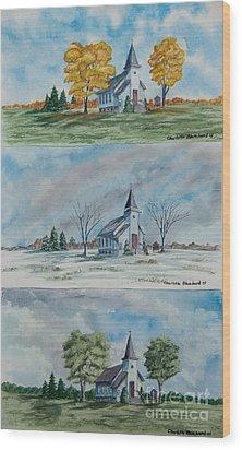 A Church For All Seasons Wood Print by Charlotte Blanchard