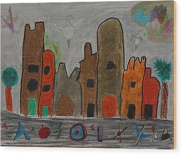 A Child's View Of Downtown Wood Print by Harris Gulko