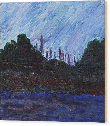 Wood Print featuring the painting A City That Never Sleeps by Vadim Levin