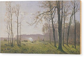 A Clearing In An Autumnal Wood Wood Print by Max Kuchel