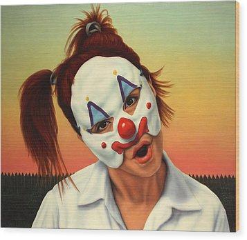 A Clown In My Backyard Wood Print by James W Johnson