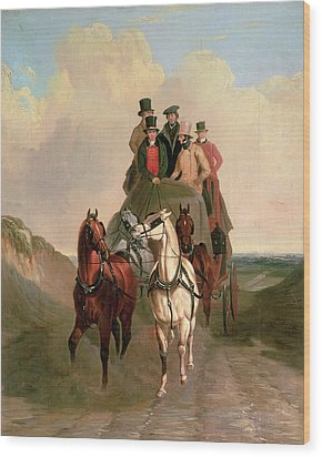 A Coach And Four On An Open Road  Wood Print by William Snr Shayer