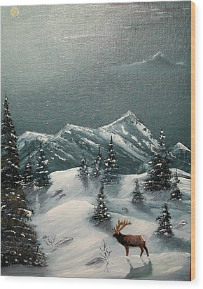 Wood Print featuring the painting A Cold Montana Night by Al  Johannessen