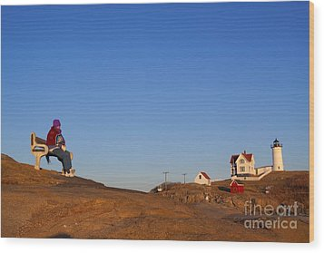 A Cold Winter Day At The Lighthouse Wood Print by David Bishop