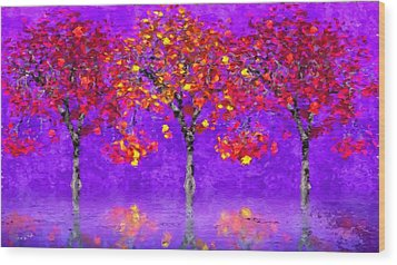 A Colorful Autumn Rainy Day Wood Print by Gabriella Weninger - David