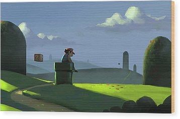 A Contemplative Plumber Wood Print