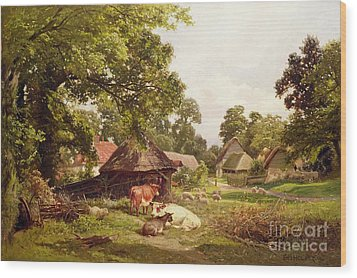 A Cottage Home In Surrey Wood Print by Edward Henry Holder